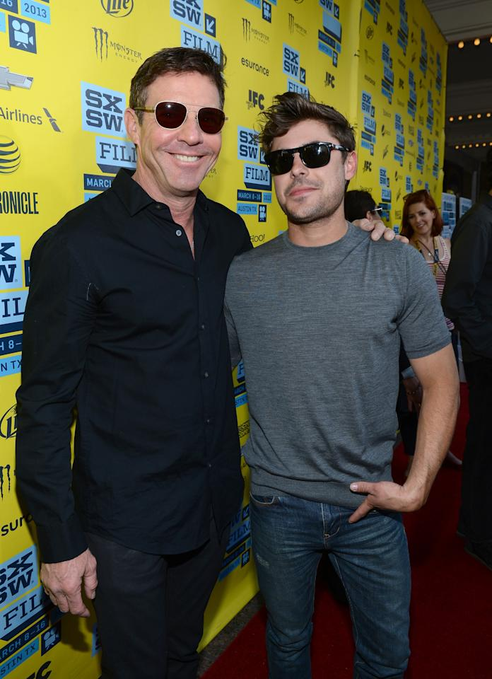 "AUSTIN, TX - MARCH 16:  Actor Dennis Quaid (L) and actor Zac Efron arrive to the screening of ""At Any Price"" during the 2013 SXSW Music, Film + Interactive Festival at the Paramount Theatre on March 16, 2013 in Austin, Texas.  (Photo by Michael Buckner/Getty Images for SXSW)"