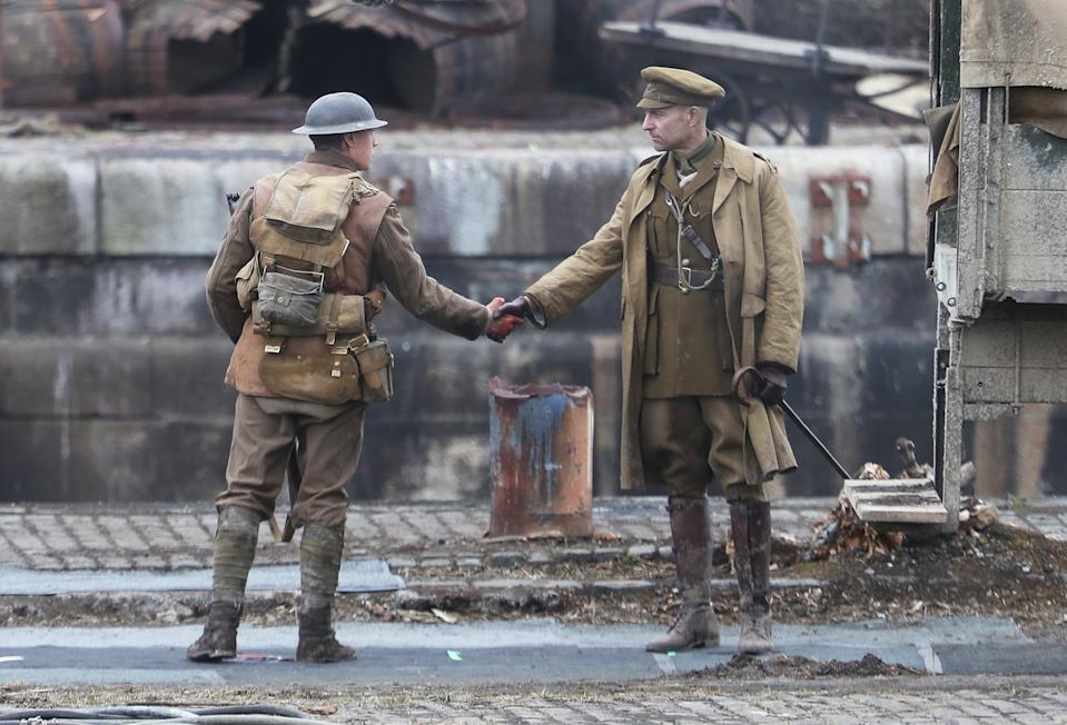 Actors Mark Strong (right) and George Mackay on the set of Sam Mendes' new film 1917 during filming at Govan Docks in Glasgow. (Photo by Andrew Milligan/PA Images via Getty Images)