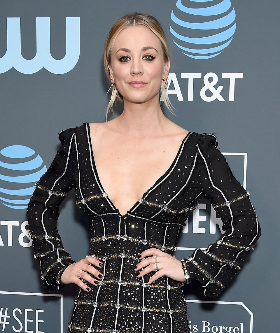 """<p>Back in 2016, actress Kaley Cuoco revealed she has zero regrets when it comes to plastic surgery. """"Years ago, I had my nose done. And my boobs. Best thing I ever did,"""" she told <a rel=""""nofollow noopener"""" href=""""https://www.womenshealthmag.com/life/a19922977/kaley-cuoco-december-issue/"""" target=""""_blank"""" data-ylk=""""slk:Women's Health"""" class=""""link rapid-noclick-resp""""><em>Women's Health</em></a>. <em>[Photo: Getty]</em> </p>"""