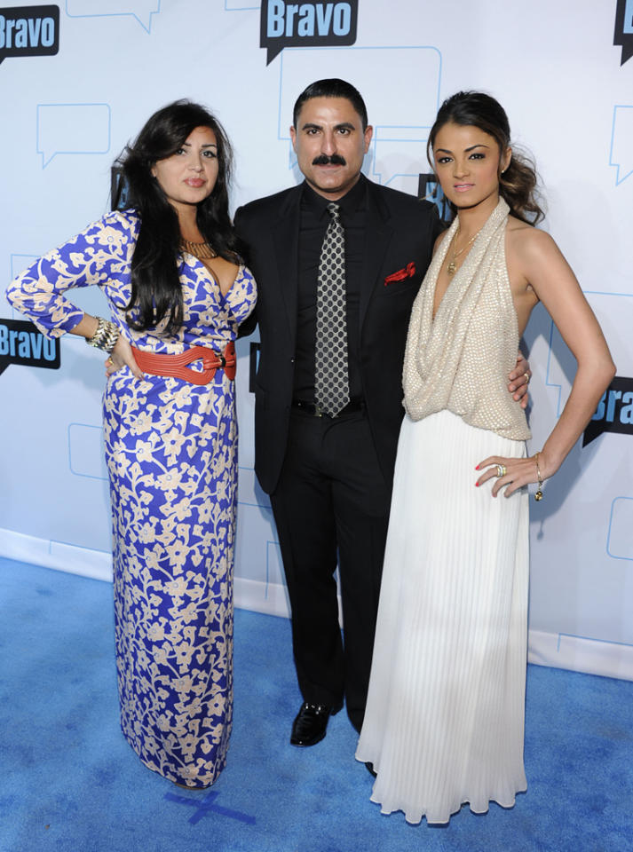 "Mercedes Javid, Reza Farahan, and Golesa Gharachedahi of ""Shahs of Sunset"" attend Bravo's 2012 Upfront Event at Center 548 on April 4, 2012 in New York City."