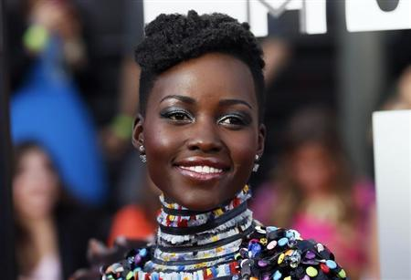 Lupita Nyong'o arrives at the 2014 MTV Movie Awards in Los Angeles