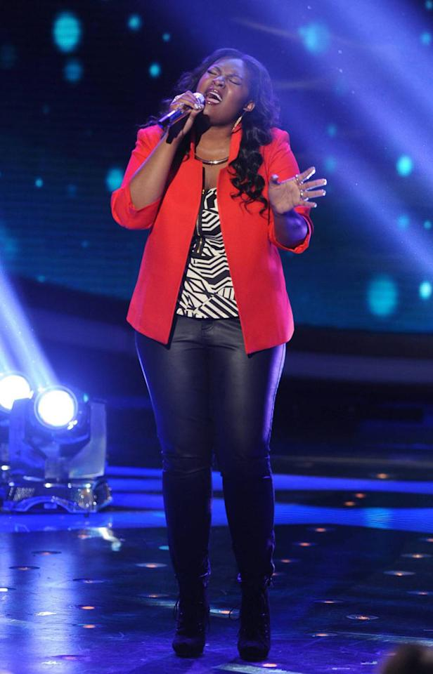 "Candice Glover performs ""Emotion"" on the Wednesday, April 24 episode of ""American Idol."""