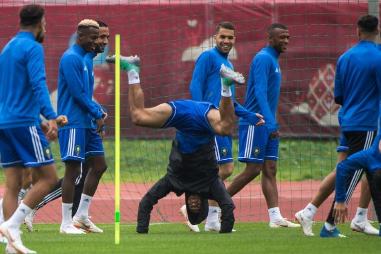 Morocco's players take part in a training session in Voronezh on June 13, ahead of the Russia 2018 World Cup football tournament