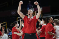 Japan's head coach Thomas Wayne Hovasse celebrates the team's win over Belgium in a women's basketball quarterfinal game at the 2020 Summer Olympics, Wednesday, Aug. 4, 2021, in Saitama, Japan. (AP Photo/Eric Gay)