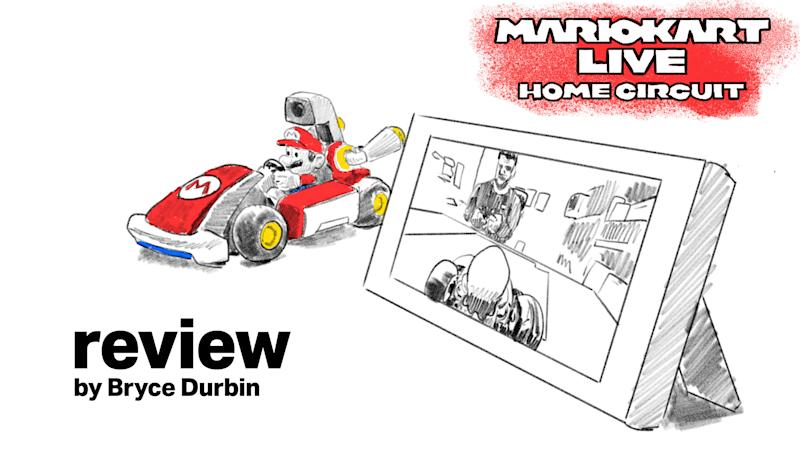 Text: Mario Kart Live: Home Circuit review by Bryce Durbin [Image: drawing of Mario Kart car next to Nintendo Switch]