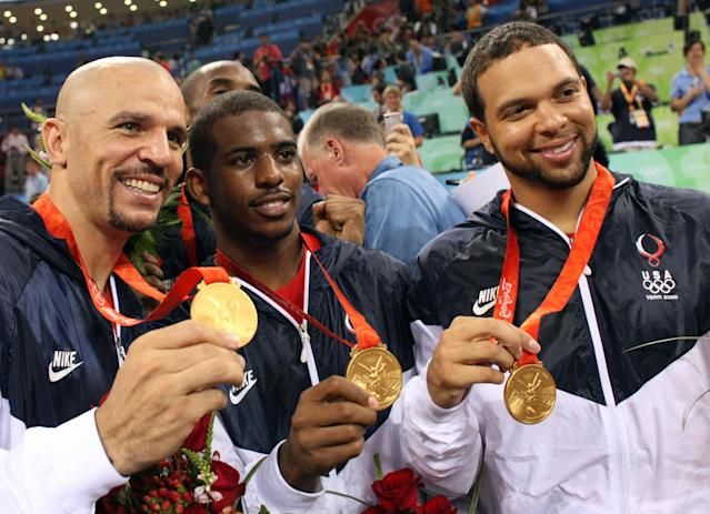 Jason Kidd mentored Chris Paul and Deron Williams on their way to a gold medal at the 2008 Beijing Olympics. (Getty Images)