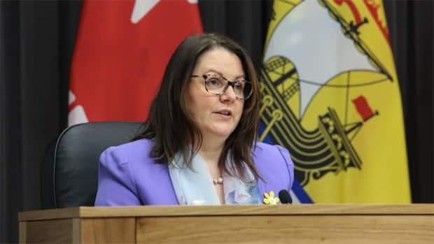 Chief Medical Officer of Health Dr. Jennifer Russell addressed reporters during the COVID-19 update in Fredericton Thursday afternoon. (Government of New Brunswick  - image credit)