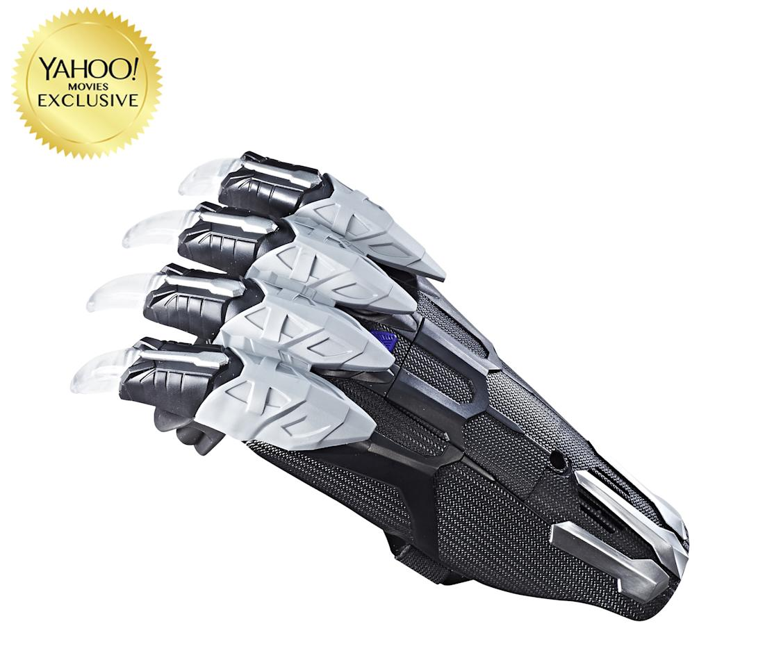 """<p>""""Battle like the warrior king Black Panther with this movie-inspired Vibranium Power FX Claw! This claw features slashing sound effects and lights that are activated with surface contact."""" $19.99 (Photo: Hasbro) </p>"""