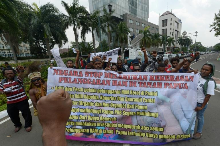 Activists in Jakarta protest against the 2014 shootings of four teenagers in Indonesia's insurgency-wracked Papua province (AFP Photo/ADEK BERRY)