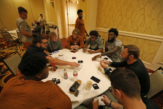 "Members of the Texas Longhorns football team play ""Cards Against Humanity"" Friday Sept. 6, 2019 at the team hotel in Austin, Tx. ( Photo by Edward A. Ornelas )"