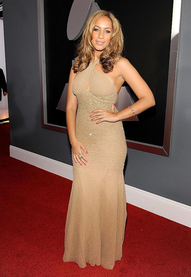 """Blah: """"Bleeding Love"""" songbird Leona Lewis played it safe in a snooze-inducing nude halter dress. Larry Busacca/<a href=""""http://www.gettyimages.com/"""" target=""""new"""">GettyImages.com</a> - February 8, 2009"""