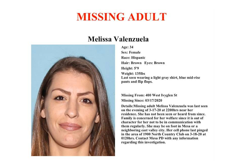 Melissa Valenzuela, 34, was reported missing by her family on March 20, 2020. She was found dead the next week, Mesa police said.