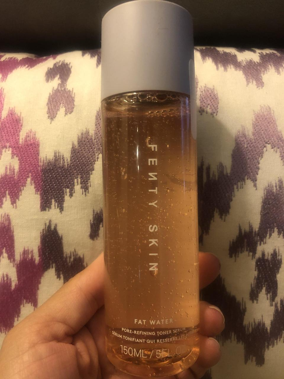 """<p>Because we're all busy, this Fenty Skin Fat Water Pore-Refining Toner Serum ($28) does double duty as both a pore-refining toner <em>and</em> a rich, hydrating serum. It brightens skin with niacinamide and vitamin C-rich Barbados cherry, plus features anti-inflammatory Japanese raisin tree extract for an <a href=""""https://www.popsugar.com/beauty/stressed-skin-tips-47406359"""" class=""""link rapid-noclick-resp"""" rel=""""nofollow noopener"""" target=""""_blank"""" data-ylk=""""slk:instant skin detox"""">instant skin detox</a>.<br><br> Still, while all that's great, perhaps the best thing about this product is that it's meant to be applied right with your hands you don't waste even one single drop of its golden goodness.</p>"""
