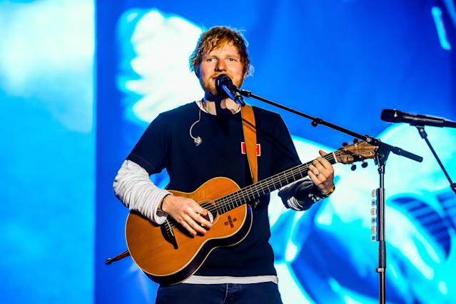 Ed Sheeran performs during the first day of Sziget Festival in Budapest. (Luigi Rizzo/Pacific Press/LightRocket via Getty Images)