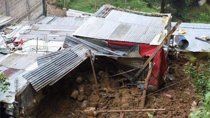 The backyard of a house is seen where a mudslide killed several people after Hurricane Grace pummelled Mexico with torrential rain on Saturday, in Xalapa, Mexico August 21, 2021.