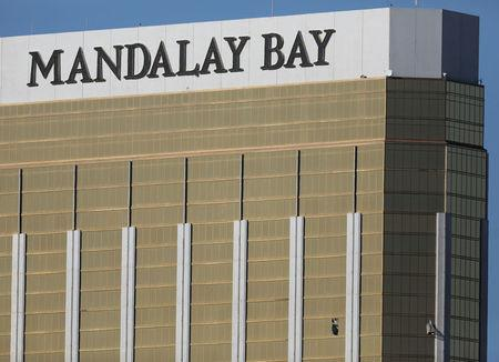 Two broken windows are seen at The Mandalay Bay Resort and Casino following a mass shooting at the Route 91 Festival in Las Vegas