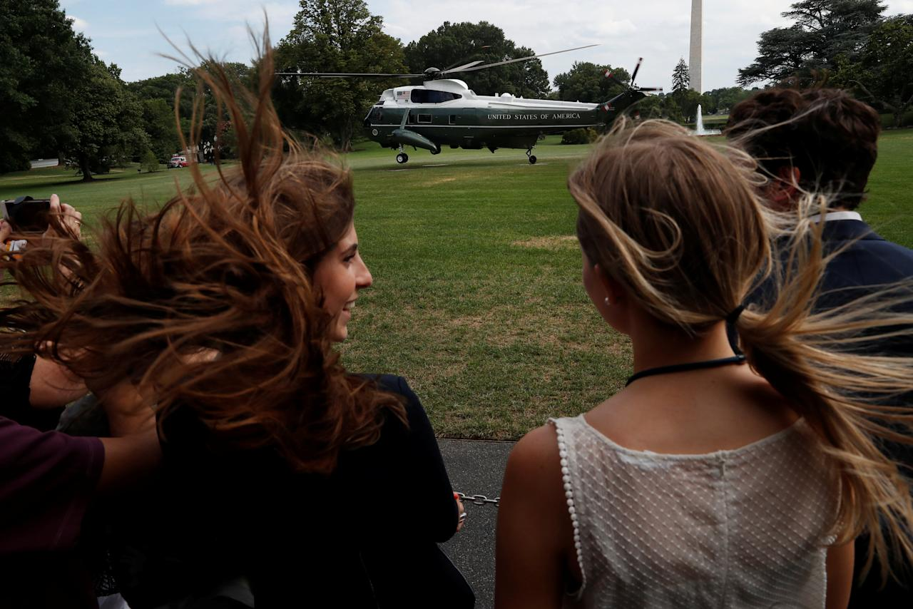 U.S. President Donald Trump takes off in Marine One to depart for travel to New Jersey from the South Lawn of the White House in Washington, U.S., July 20, 2018. REUTERS/Leah Millis