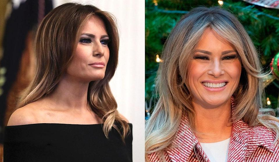 """The first lady started quite the conversation when she <a href=""""https://www.glamour.com/story/melania-trump-blonde-hair-fox-news?mbid=synd_yahoo_rss"""" rel=""""nofollow noopener"""" target=""""_blank"""" data-ylk=""""slk:debuted a new blond hair color"""" class=""""link rapid-noclick-resp"""">debuted a new blond hair color</a> during a Fox News interview in December 2018. As with most things related to the Trump family, <a href=""""https://www.glamour.com/story/melania-trump-blonde-hair-fox-new?mbid=synd_yahoo_rss"""" rel=""""nofollow noopener"""" target=""""_blank"""" data-ylk=""""slk:Twitter had a lot to say"""" class=""""link rapid-noclick-resp"""">Twitter had a lot to say</a> about Trump's newly highlighted look."""