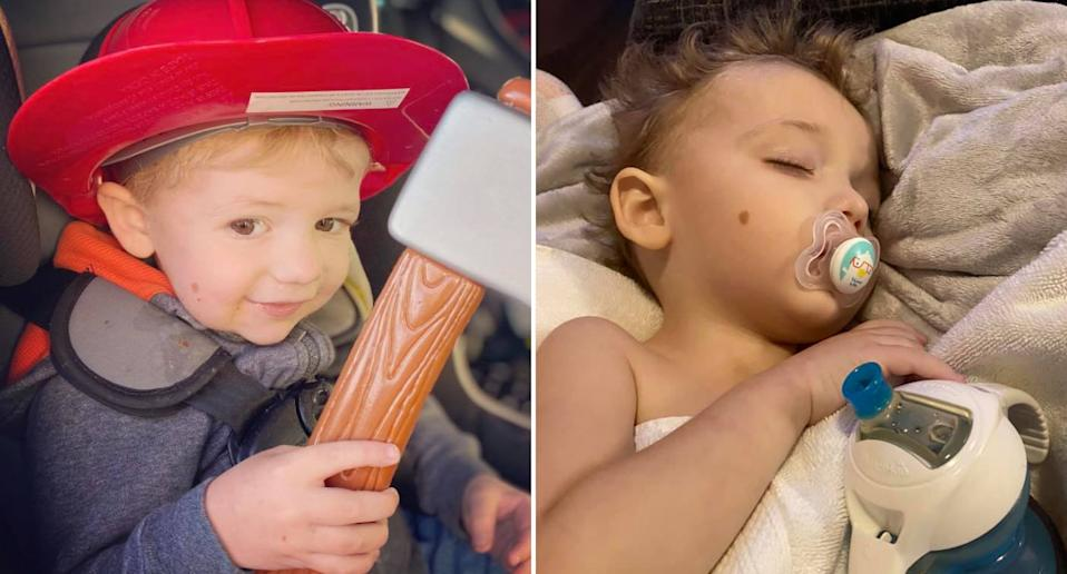 Johnathan Huff dressed as a firefighter (left) and resting after being sick (right).