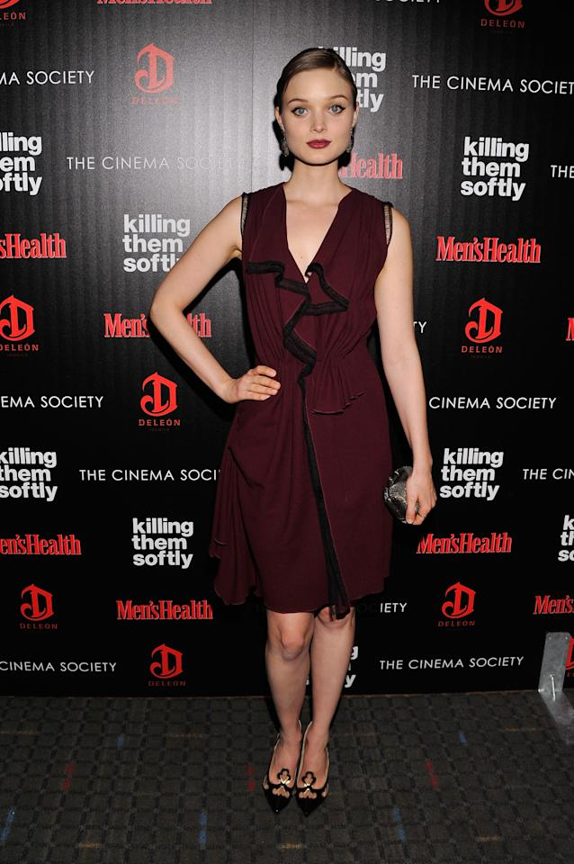 """NEW YORK, NY - NOVEMBER 26:  Actress Bella Heathcote attends The Cinema Society with Men's Health and DeLeon hosted screening of The Weinstein Company's """"Killing Them Softly"""" on November 26, 2012 in New York City.  (Photo by Stephen Lovekin/Getty Images)"""