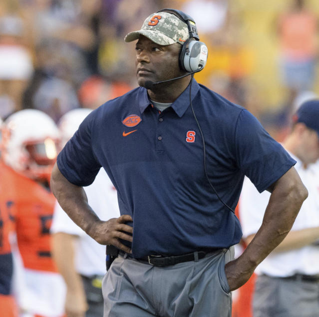 Syracuse head coach Dino Babers walks the sidelines during a game against LSU. (AP Photo)