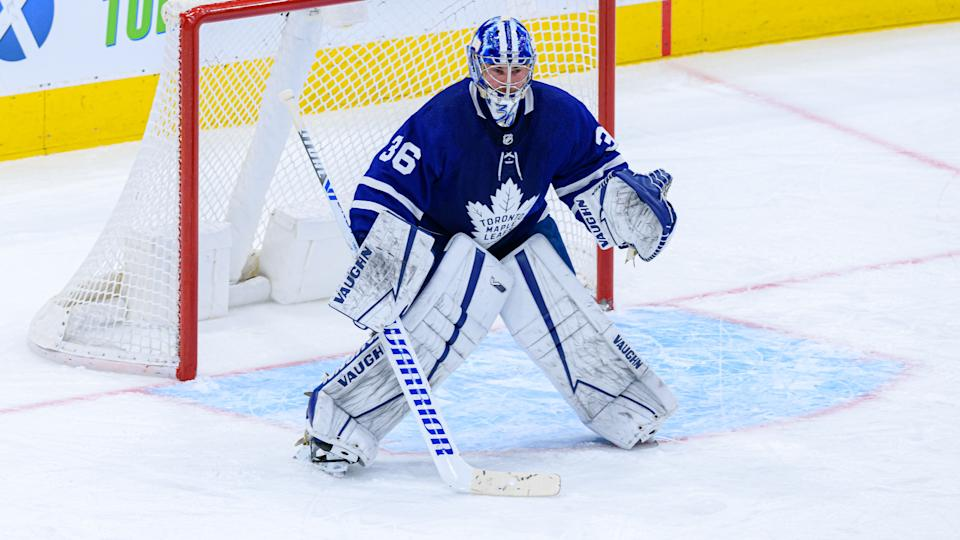 TORONTO, ON - MARCH 20: Toronto Maple Leafs Goalie Jack Campbell (36) tends the net during the NHL regular season game between the Calgary Flames and the Toronto Maple Leafs on March 20, 2021, at Scotiabank Arena in Toronto, ON, Canada. (Photo by Julian Avram/Icon Sportswire via Getty Images)