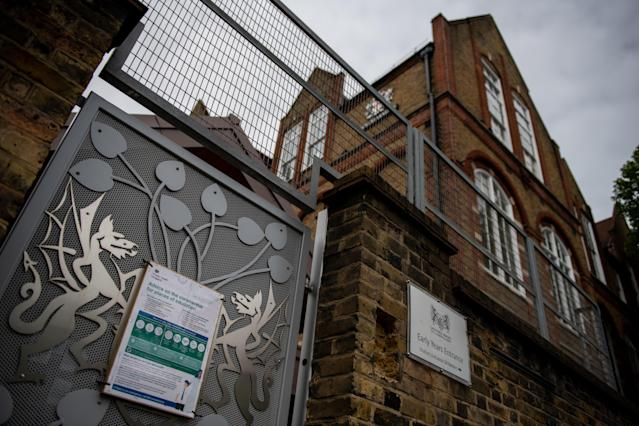 A sign on the gate at the temporarily closed Galleywall Primary School in London. (Getty Images)