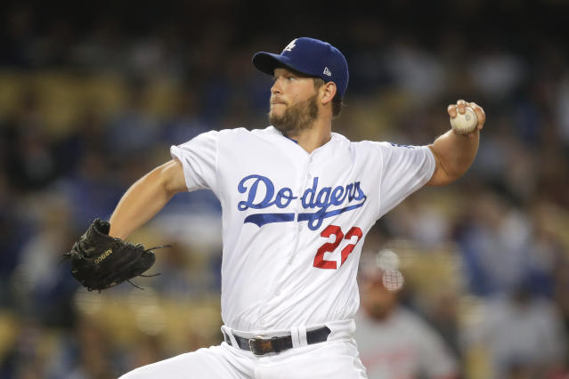 Los Angeles Dodgers starting pitcher Clayton Kershaw throws to a Washington Nationals batter during the second inning of a baseball game Friday, April 20, 2018, in Los Angeles. (AP Photo/Jae C. Hong)