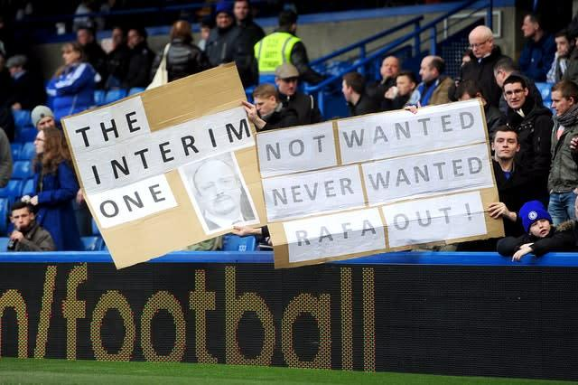 Chelsea fans were not welcoming of Rafa Benitez as their manager (Adam Davy/PA)