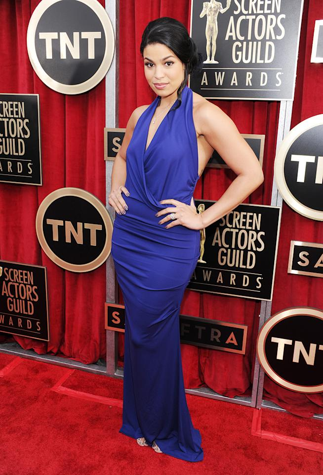 Jordin Sparks arrives at the 19th Annual Screen Actors Guild Awards at the Shrine Auditorium in Los Angeles, CA on January 27, 2013.