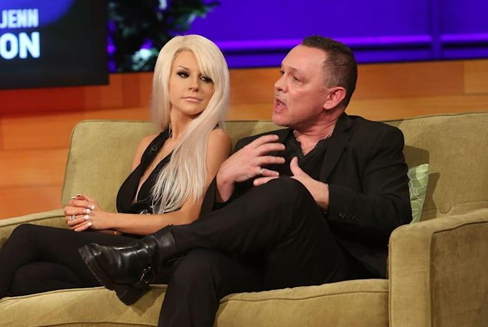 """<div class=""""inline-image__caption""""><p>Courtney Stodden and Doug Hutchison attend the VH1 <em>Couples Therapy</em> reunion at GMT Studios on August 8, 2014, in Culver City, California. </p></div> <div class=""""inline-image__credit"""">Jesse Grant/Getty</div>"""