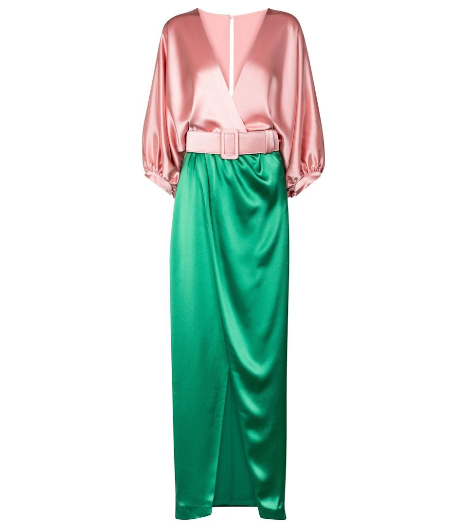 """<p><strong>Costarellos</strong></p><p>mytheresa.com</p><p><strong>$1530.00</strong></p><p><a href=""""https://go.redirectingat.com?id=74968X1596630&url=https%3A%2F%2Fwww.mytheresa.com%2Fen-us%2Fcostarellos-lulie-belted-satin-gown-1695595.html&sref=https%3A%2F%2Fwww.harpersbazaar.com%2Fwedding%2Fbridal-fashion%2Fg36750122%2Fbest-mother-of-the-groom-dresses%2F"""" rel=""""nofollow noopener"""" target=""""_blank"""" data-ylk=""""slk:SHOP NOW"""" class=""""link rapid-noclick-resp"""">SHOP NOW</a></p><p>A draped, sculptural silhouette in a color-blocked satin feels rich and celebratory, yet eclectic. Pair this look with elevated, colorful accessories to embrace a playful energy—and the color palette of the bridal party.</p>"""