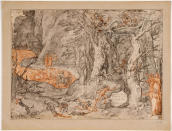 """This image made available on Thursday, Dec. 31, 2020, shows Pier della Vigna, the forest of suicides, one of the original 88 drawings that went with Dante Alighieri's Divine Comedy by artist Federico Zuccari. Florence's Uffizi Gallery is making available for viewing online 88 rarely displayed drawings of Dante's Divine Comedy to mark the 700th anniversary in 2021 of the famed Italian poet's death. The virtual show of high-resolution images of works by the 16th Century Renaissance artist Federico Zuccari will be accessible from Friday """"for free, any hour of the day, for everyone,'' said Uffizi director Eike Schmidt. (Roberto Palermo/Uffizi Gallery via AP)"""