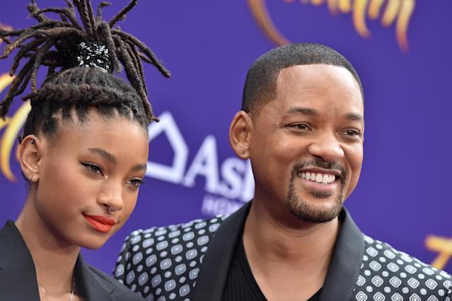"Willow Smith and Will Smith attend the premiere of Disney's ""Aladdin"" on May 21, 2019 in Los Angeles, California. (Photo by Axelle/Bauer-Griffin/FilmMagic)"
