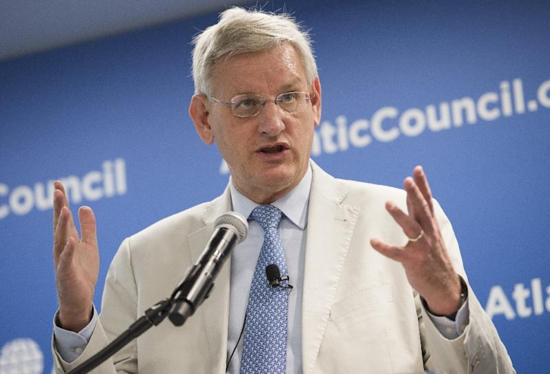 Former Swedish foreign minister Carl Bildt, pictured here in Washington, DC on July 8, 2014, has been appointed as an advisor to Russian-controlled investment group LetterOne, just days after he joined an advisory group to Ukraine's President