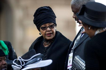 FILE PHOTO: Winnie Mandela attends the inauguration ceremony of South African President Jacob Zuma at the Union Buildings in Pretoria