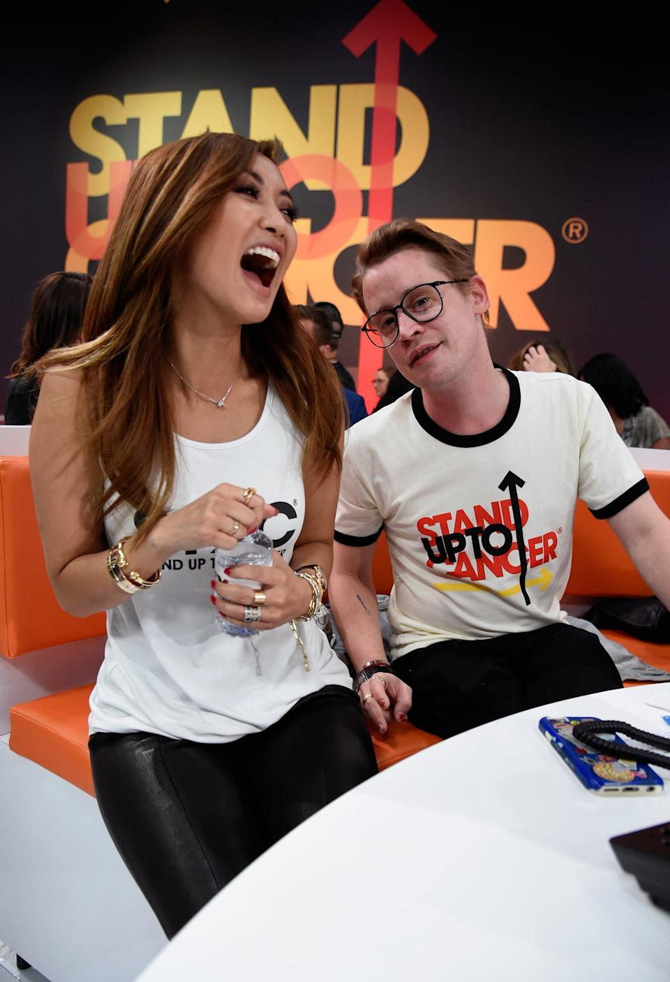 SANTA MONICA, CA - SEPTEMBER 07:  Brenda Song (L) and Macaulay Culkin attend the sixth biennial Stand Up To Cancer (SU2C) telecast at the Barkar Hangar on Friday, September 7, 2018 in Santa Monica, California.  (Photo by Kevin Mazur/Getty Images for Stand Up To Cancer)