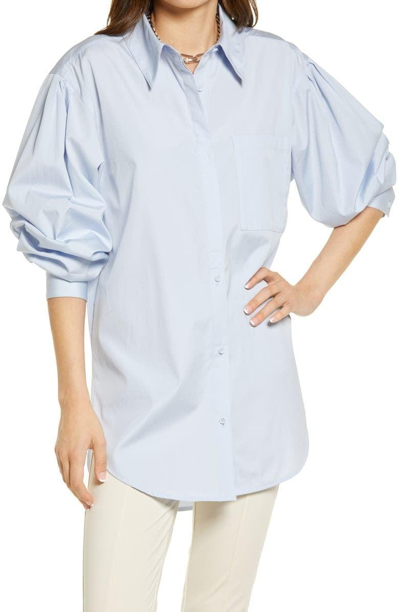 <p>Timeless button-ups are the bread and butter of our workwear collections, but we're in the mood for something a little more fun. The sleeves on this <span>Open Edit Organic Cotton Poplin Oversize Blouse</span> ($49) caught our attention, and we'd love to wear it open with a tank underneath.</p>