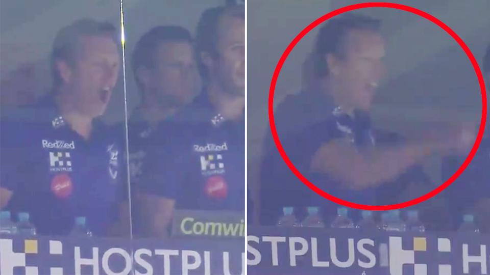Pictured here, Melbourne coach Craig Bellamy goes off after a contentious call against Penrith.