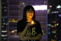32nd anniversary of the crackdown on pro-democracy demonstrators at Beijing's Tiananmen Square in 1989, in Hong Kong