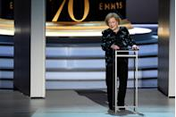"""<p>In 2018, White spoke onstage at the 70th Emmy Awards, and at 96 years old, it doesn't seem like she'll be going anywhere anytime soon. During an interview with<a href=""""http://www.cnn.com/TRANSCRIPTS/1007/06/joy.01.html"""" rel=""""nofollow noopener"""" target=""""_blank"""" data-ylk=""""slk:Joy Behar"""" class=""""link rapid-noclick-resp""""> Joy Behar</a>, she said, """" I am the luckiest old broad on two feet if the truth were known.""""<br></p>"""