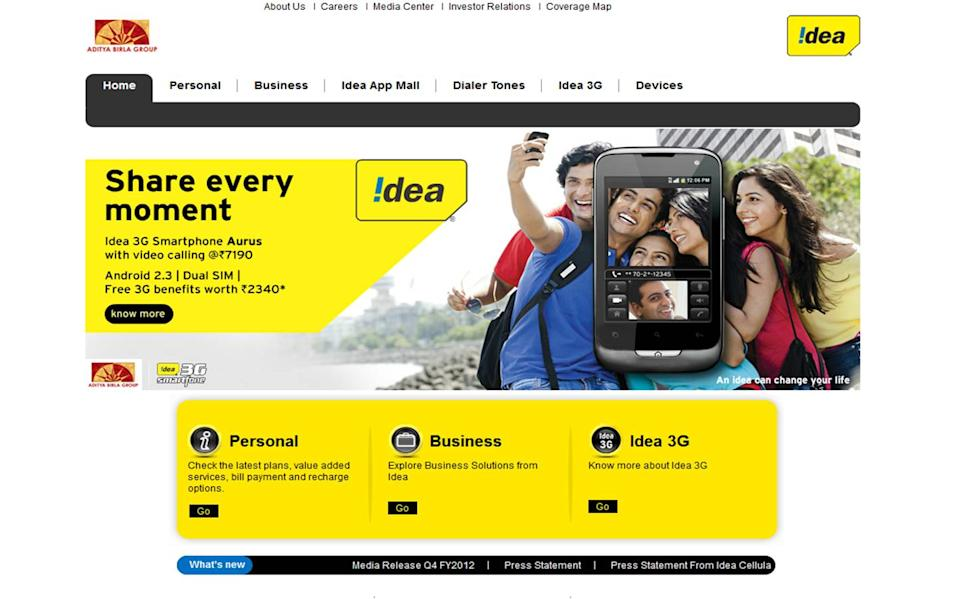 The third representative from India, Idea Cellular has <b>117.16 million connections</b> with a revenue of $1 billion. It started out as Tata Cellular which provided mobile services in Andhra Pradesh and after Birla-AT&T merged the service was rebranded as Idea. Currently, the Aditya Birla Group holds 49.1 percent of the total shares of the company. (Photo: Company website)