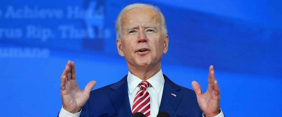 11/09/2020,USA:President-elect Joe Biden delivers remarks on Covid-19 at The Queen theater in Wilmington.