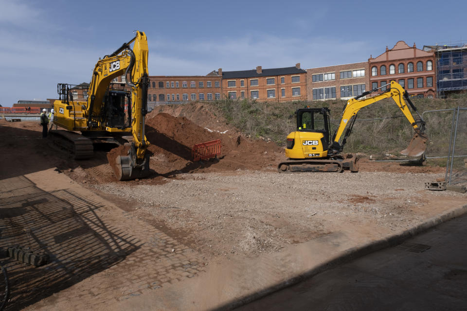 Construction site in the Jewellery Quarter on 30th March 2021 in Birmingham, United Kingdom. There are several major redevelopment works currently in this old and prestigious area near the city centre, with much of the old jewellers gone and being replaced by offices or residential homes. (photo by Mike Kemp/In Pictures via Getty Images)