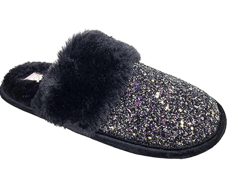 <p>They'll stay cozy in these <span>Chinese Laundry Glitter Slippers</span> ($20).</p>