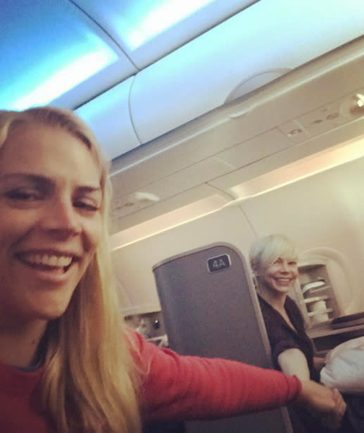 """<p>""""<span>Holding hands across the aisle on takeoff. Flying with your bff is the best!"""" exclaimed Busy Philipps, as she held on tightly to friend-til-the-end Michelle Williams. Having a flying buddy is always a good idea. (Photo: <a href=""""https://www.instagram.com/p/BP5qOqeAjnD/"""" rel=""""nofollow noopener"""" target=""""_blank"""" data-ylk=""""slk:Instagram via Busy Philipps"""" class=""""link rapid-noclick-resp"""">Instagram via Busy Philipps</a>)</span> </p>"""