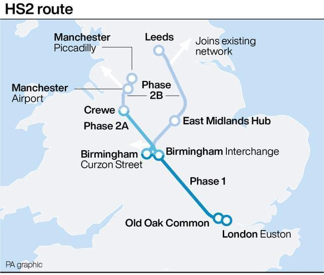 HS2 route graphic