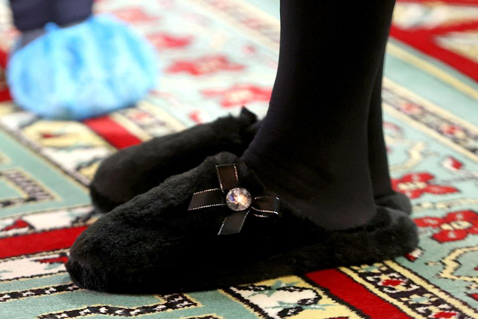 The Duchess of Cornwall's slippers caught attention during her visit to learn how the London Islamic Cultural Society has supported the local community through the coronavirus pandemic at Wightman Road Mosque in north London. (Getty Images)