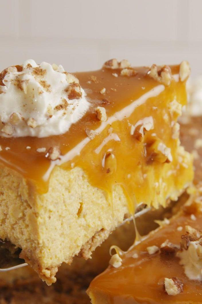"""<p>Fall for fall all over again.</p><p>Get the recipe from <a href=""""https://www.delish.com/cooking/recipe-ideas/recipes/a55237/pumpkin-spice-cheesecake-recipe/"""" rel=""""nofollow noopener"""" target=""""_blank"""" data-ylk=""""slk:Delish"""" class=""""link rapid-noclick-resp"""">Delish</a>.</p>"""