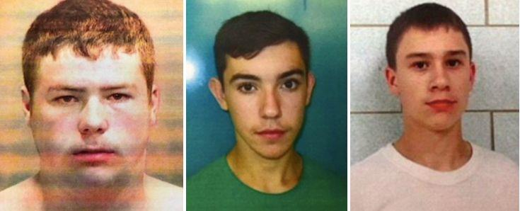 From left: Kyle Anger, 17, Mikadyn Payne, 16, and Mark Sekelsky, 16, could face life behind bars.